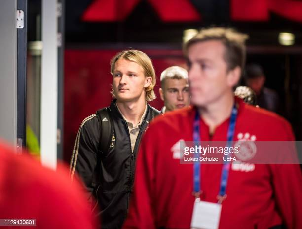 Kasper Dolberg of Amsterdam arrives prior to the UEFA Champions League Round of 16 First Leg match between Ajax and Real Madrid at Johan Cruyff Arena...