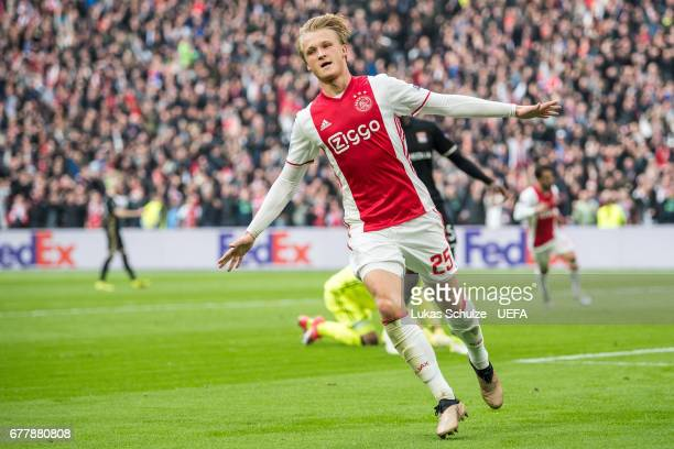 Kasper Dolberg of Amsterdam celebrates his teams second goal during the Uefa Europa League semi final first leg match between Ajax Amsterdam and...