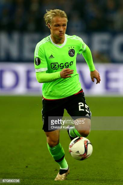 Kasper Dolberg of Amsterdam runs with the ball during the UEFA Europa League quarter final second leg match between FC Schalke 04 and Ajax Amsterdam...