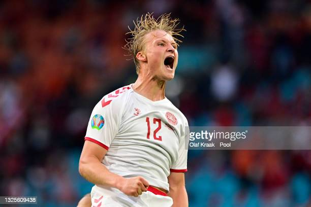 Kasper Dolberg of Denmark celebrates after scoring their side's second goal during the UEFA Euro 2020 Championship Round of 16 match between Wales...