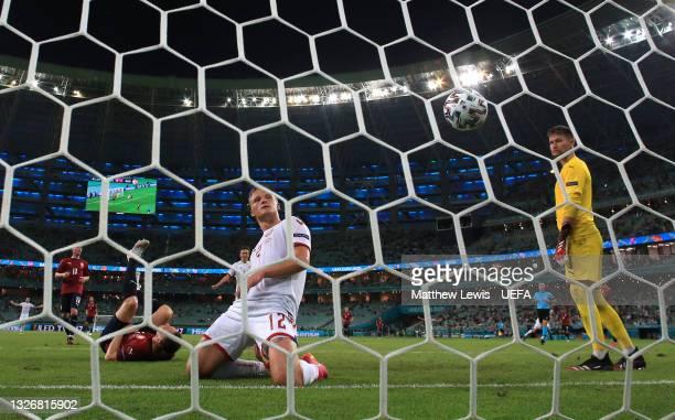 Kasper Dolberg of Denmark celebrates after scoring their side's second goal during the UEFA Euro 2020 Championship Quarter-final match between Czech...