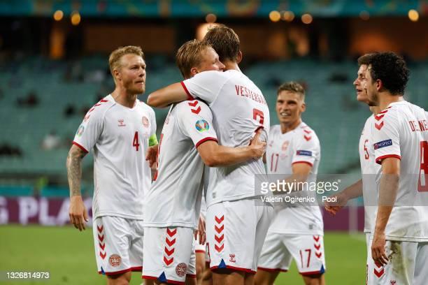 Kasper Dolberg of Denmark celebrates with Jannik Vestergaard after scoring their side's second goal during the UEFA Euro 2020 Championship...