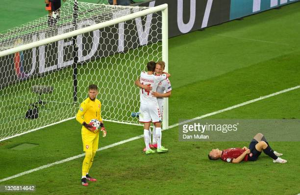 Kasper Dolberg of Denmark celebrates with Mikkel Damsgaard after scoring their side's second goal during the UEFA Euro 2020 Championship...