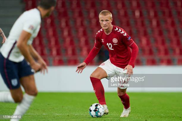 Kasper Dolberg of Denmark controls the ball during the UEFA Nations League match between Denmark and England at Parken Stadium on September 5, 2020...