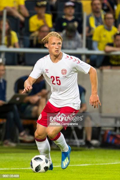Kasper Dolberg of Denmark during an international friendly match between Sweden and Denmark at Friends Arean on June 2 2018 in Stockholm Sweden