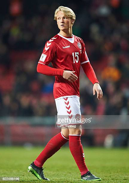Kasper Dolberg of Denmark in action during the FIFA 2018 World Cup Qualifier match between Denmark and Kazakhstan at Telia Parken Stadium on November...