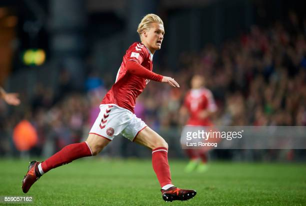 Kasper Dolberg of Denmark in action during the FIFA World Cup 2018 qualifier match between Denmark and Romania at Telia Parken Stadium on October 8...