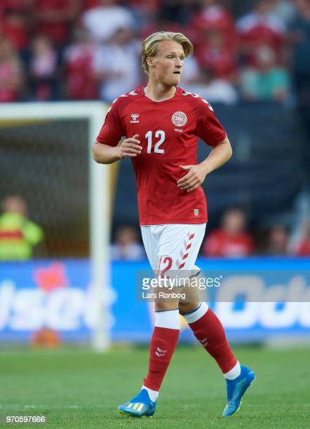 Kasper Dolberg of Denmark in action during the international friendly match between Denmark and Mexico at Brondby Stadion on June 9 2018 in Brondby...