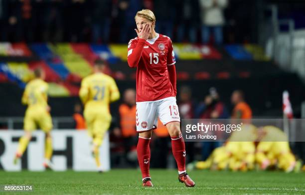 Kasper Dolberg of Denmark looks dejected during the FIFA World Cup 2018 qualifier match between Denmark and Romania at Telia Parken Stadium on...
