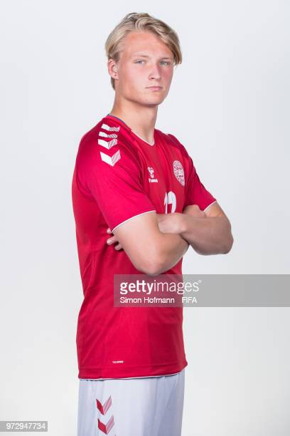 Kasper Dolberg of Denmark poses during official FIFA World Cup 2018 portrait session on June 12 2018 in Anapa Russia