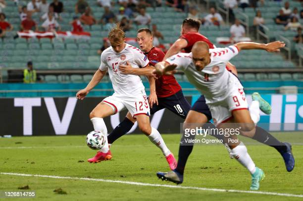 Kasper Dolberg of Denmark scores their side's second goal during the UEFA Euro 2020 Championship Quarter-final match between Czech Republic and...
