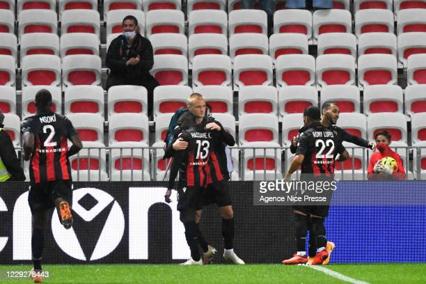 Kasper DOLBERG of Nice celebrate his goal during the Ligue 1 match between OGC Nice and Lille OSC at Allianz Riviera on October 25, 2020 in Nice,...