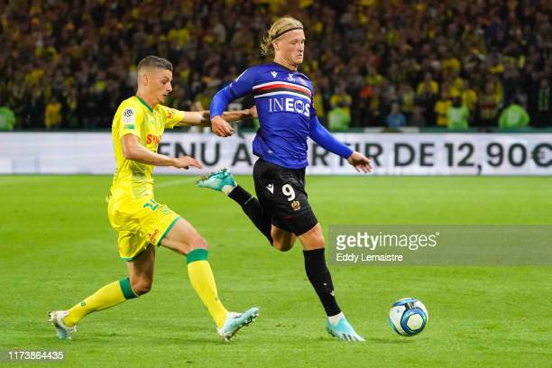 Kasper DOLBERG of Nice during the Ligue 1 match between FC Nantes and OGC Nice at Stade de la Beaujoire on October 5, 2019 in Nantes, France.