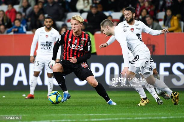 Kasper DOLBERG of Nice during the Ligue 1 match between OGC Nice and Brest on February 21, 2020 in Nice, France.