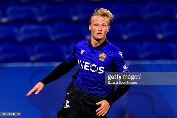 Kasper Dolberg of Nice runs in the field during the Ligue 1 match between Olympique Lyon and OGC Nice at Groupama Stadium on May 23, 2021 in Lyon,...
