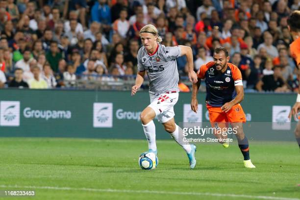 Kasper Dolberg Rasmussen of OGC Nice controls the ball during the Ligue 1 match between Montpellier HSC and OGC Nice at Stade de la Mosson on...