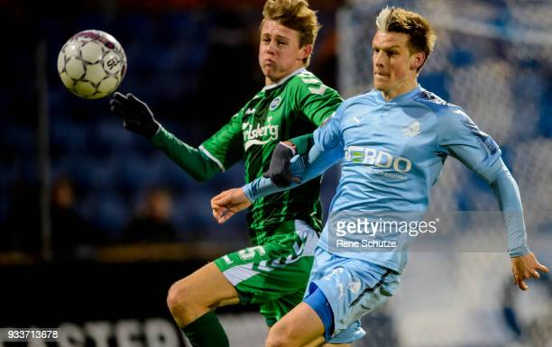 Kasper Enghardt of Randers FC Action from the Danish Alka Superliga match between Randers FC and OB Odense at BioNutria Park on March 18 2018 in...
