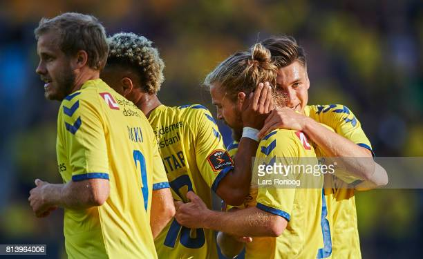 Kasper Fisker and Gregor Sikosek of Brondby IF celebrate after scoring their second goal during the UEFA Europa League Qualification match between...