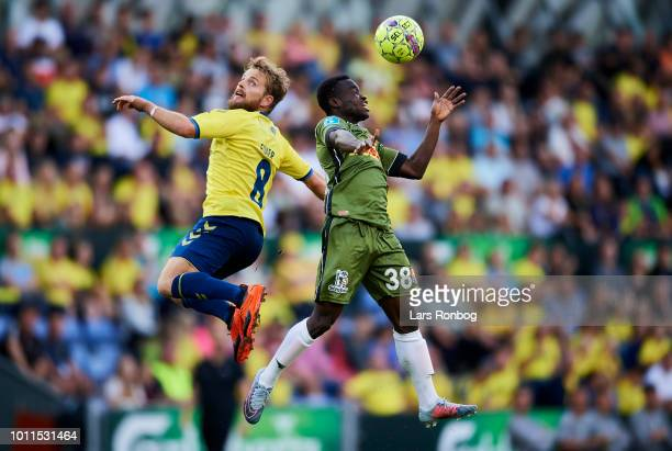 Kasper Fisker of Brondby IF and Clinton Antwi of FC Nordsjalland compete for the ball during the Danish Superliga match between Brondby IF and FC...