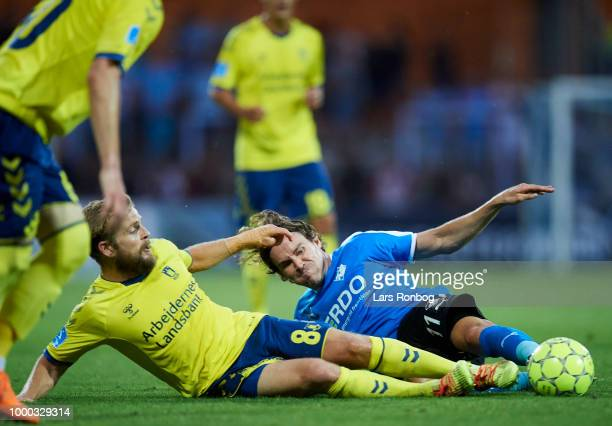 Kasper Fisker of Brondby IF and Erik Marxen of Randers FC compete for the ball during the Danish Superliga match between Randers FC and Brondby IF at...