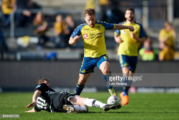 Kasper Fisker of Brondby IF and Lasse Kryger of AC Horsens compete for the ball during the Danish Alka Superliga match between Brondby IF and AC...
