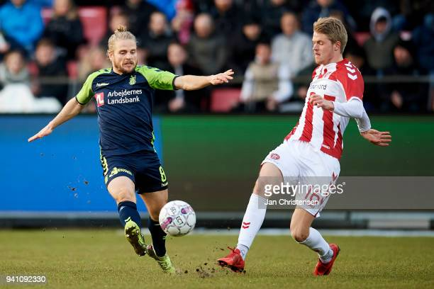 Kasper Fisker of Brondby IF and Magnus Christensen of AaB Aalborg in action during the Danish Alka Superliga match between AaB Aalborg and Brondby IF...