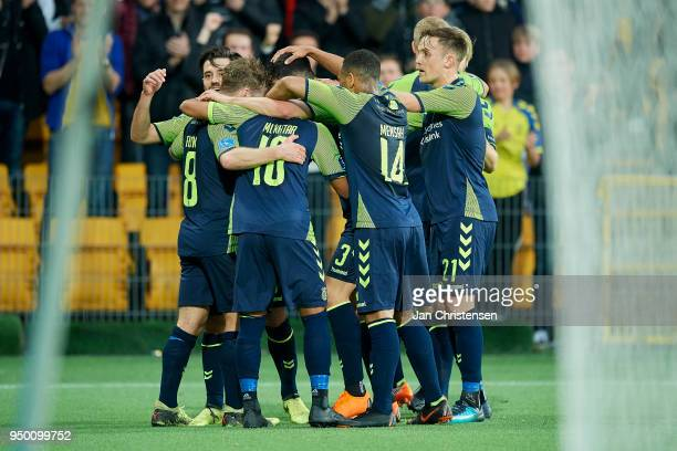Kasper Fisker of Brondby IF and teammates celebrating his 02 goal during the Danish Alka Superliga match between FC Nordsjalland and Brondby IF at...