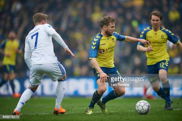 Kasper Fisker of Brondby IF and Viktor Fischer of FC Copenhagen compete for the ball during the Danish Alka Superliga match between Brondby IF and FC...