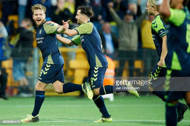 Kasper Fisker of Brondby IF celebrate after his 02 goal during the Danish Alka Superliga match between FC Nordsjalland and Brondby IF at Right to...