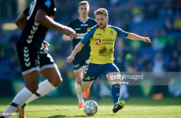 Kasper Fisker of Brondby IF controls the ball during the Danish Alka Superliga match between Brondby IF and AC Horsens at Brondby Stadion on April 8...