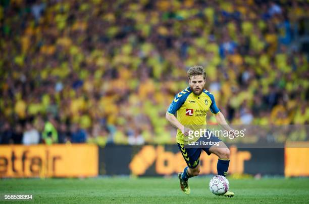 Kasper Fisker of Brondby IF controls the ball during the Danish Alka Superliga match between Brondby IF and FC Midtjylland at Brondby Stadion on May...