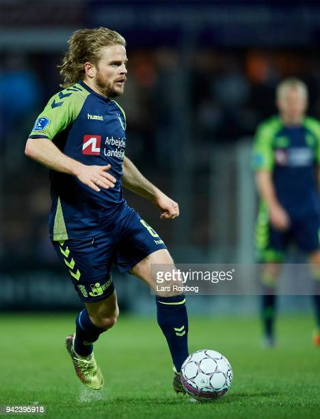 Kasper Fisker of Brondby IF controls the ball during the Danish DBU Pokalen Cup quarterfinal match between Sonderjyske and Brondby IF at Sydbank Park...