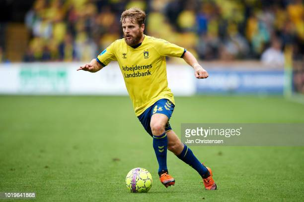 Kasper Fisker of Brondby IF controls the ball during the Danish Superliga match between Brondby IF and Esbjerg fB at Brondby Stadion on August 19...