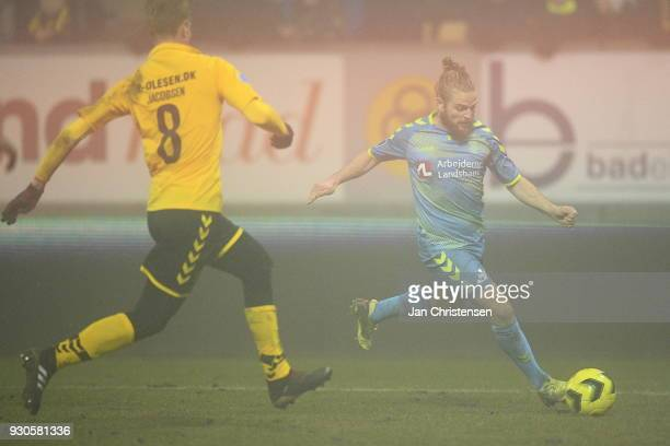 Kasper Fisker of Brondby IF in action during the Danish Alka Superliga match between AC Horsens and Brondby IF at Casa Arena Horsens on March 11 2018...