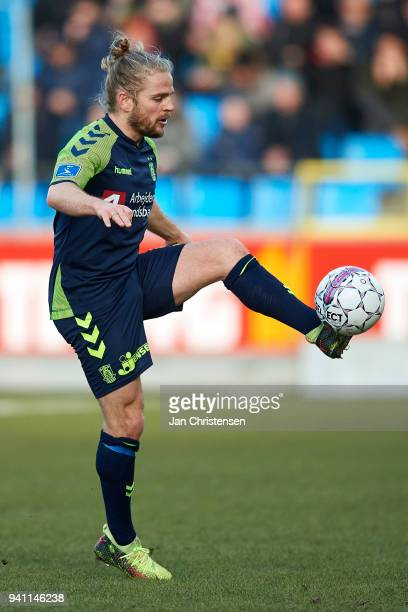 Kasper Fisker of Brondby IF in action during the Danish Alka Superliga match between AaB Aalborg and Brondby IF at Aalborg Portland Park on April 02...