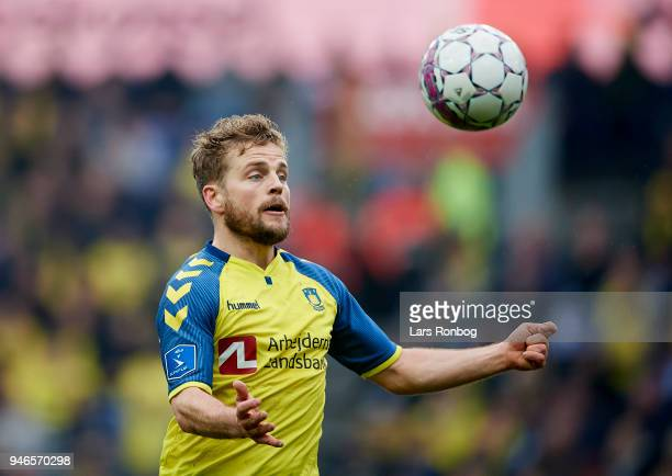 Kasper Fisker of Brondby IF in action during the Danish Alka Superliga match between Brondby IF and FC Copenhagen at Brondby Stadion on April 15 2018...