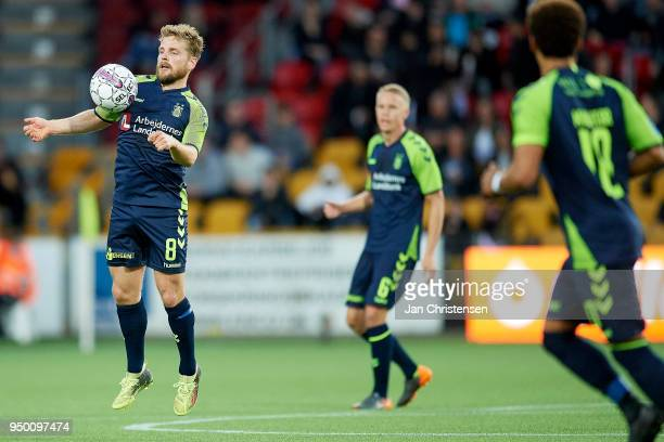 Kasper Fisker of Brondby IF in action during the Danish Alka Superliga match between FC Nordsjalland and Brondby IF at Right to Dream Park on April...