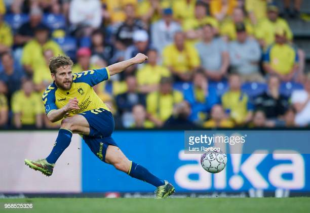 Kasper Fisker of Brondby IF in action during the Danish Alka Superliga match between Brondby IF and FC Midtjylland at Brondby Stadion on May 14 2018...