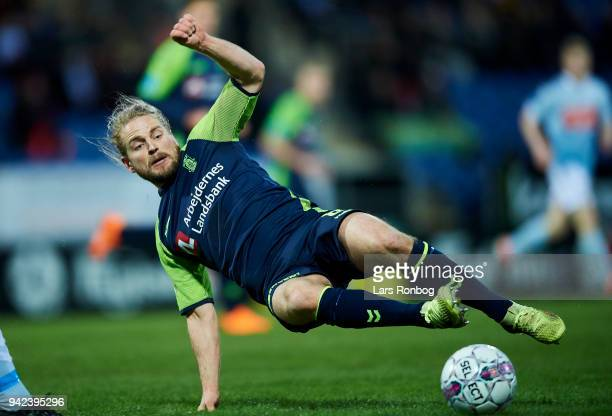 Kasper Fisker of Brondby IF in action during the Danish DBU Pokalen Cup quarterfinal match between Sonderjyske and Brondby IF at Sydbank Park on...