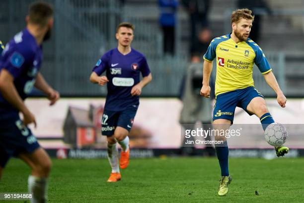 Kasper Fisker of Brondby IF in action during the Danish DBU Pokalen Cup Semifinal match between Brondby IF and FC Midtjylland at Brondby Stadion on...