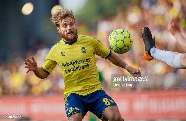 Kasper Fisker of Brondby IF in action during the Danish Superliga match between Brondby IF and Vejle Boldklub at Brondby Stadion on July 22 2018 in...