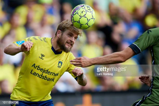Kasper Fisker of Brondby IF in action during the Danish Superliga match between Brondby IF and FC Nordsjalland at Brondby Stadion on August 5 2018 in...