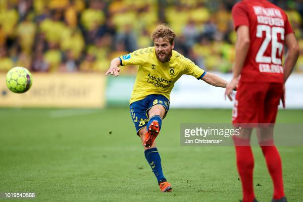 Kasper Fisker of Brondby IF in action during the Danish Superliga match between Brondby IF and Esbjerg fB at Brondby Stadion on August 19 2018 in...