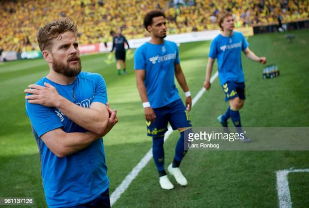 Kasper Fisker of Brondby IF leaving the pitch after warmup prior to the Danish Alka Superliga match between Brondby IF and AaB Aalborg at Brondby...