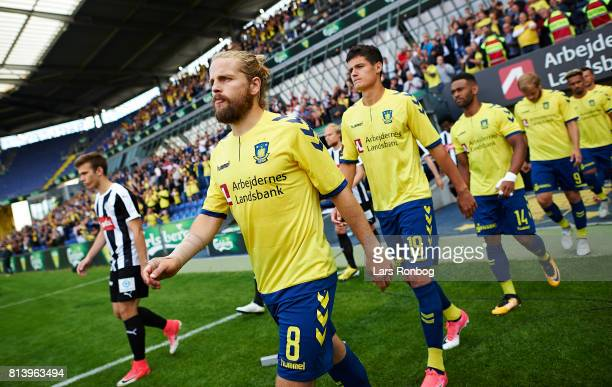 Kasper Fisker of Brondby IF walks on to the pitch prior to the UEFA Europa League Qualification match between Brondby IF and VPS Vaasa at Brondby...