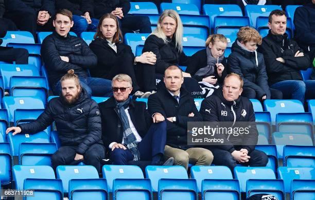 Kasper Fisker of Randers FC Per Hastrup President of Randers FC Michael Gravgaard CEO of Randers FC and Rasmus Bertelsen head of scouting of Randers...