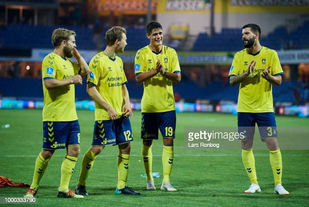 Kasper Fisker Simon Tibbling Christian Norgaard and Anthony Jung of Brondby IF celebrate after the Danish Superliga match between Randers FC and...