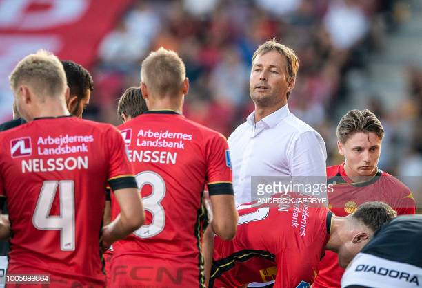 Kasper Hjulmand coach for FC Nordsjaelland speaks to his players during the first leg of the second qualifying round for the Europa League match...