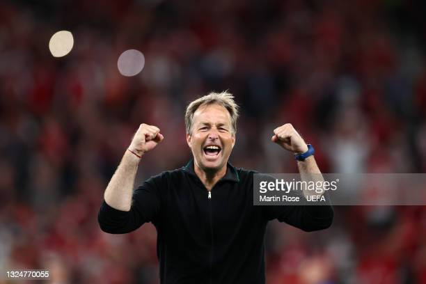 Kasper Hjulmand, Head Coach of Denmark celebrates after victory in the UEFA Euro 2020 Championship Group B match between Russia and Denmark at Parken...