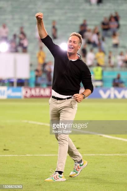 Kasper Hjulmand, Head Coach of Denmark celebrates their side's victory after the UEFA Euro 2020 Championship Quarter-final match between Czech...